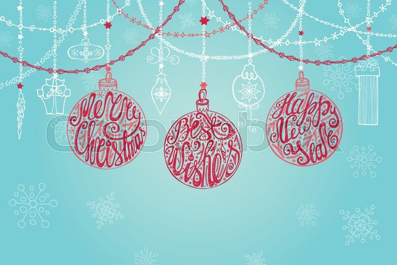 Christmas Ball Garlands.Christmas New Year Greeting Card With Stock Vector