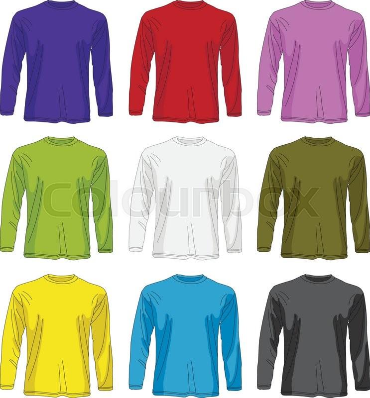 Illustration of men long sleeved t shirt template in many for Long sleeve t shirt template illustrator