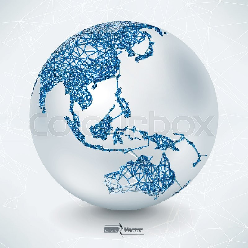 stock vector of abstract telecommunication earth map asia indonesia oceania australia