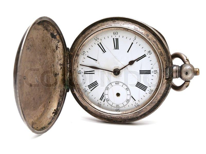 Antike taschenuhr  Alte Taschenuhr Uhr vor dem weißen Hintergrund | Stockfoto | Colourbox