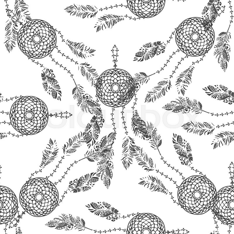 Hand Drawn Vector Doodle Black Dream Catcher With Feathers Seamless Pattern Set On White Ethnic Ink Openwork Tribal Stylized For Coloring Pages