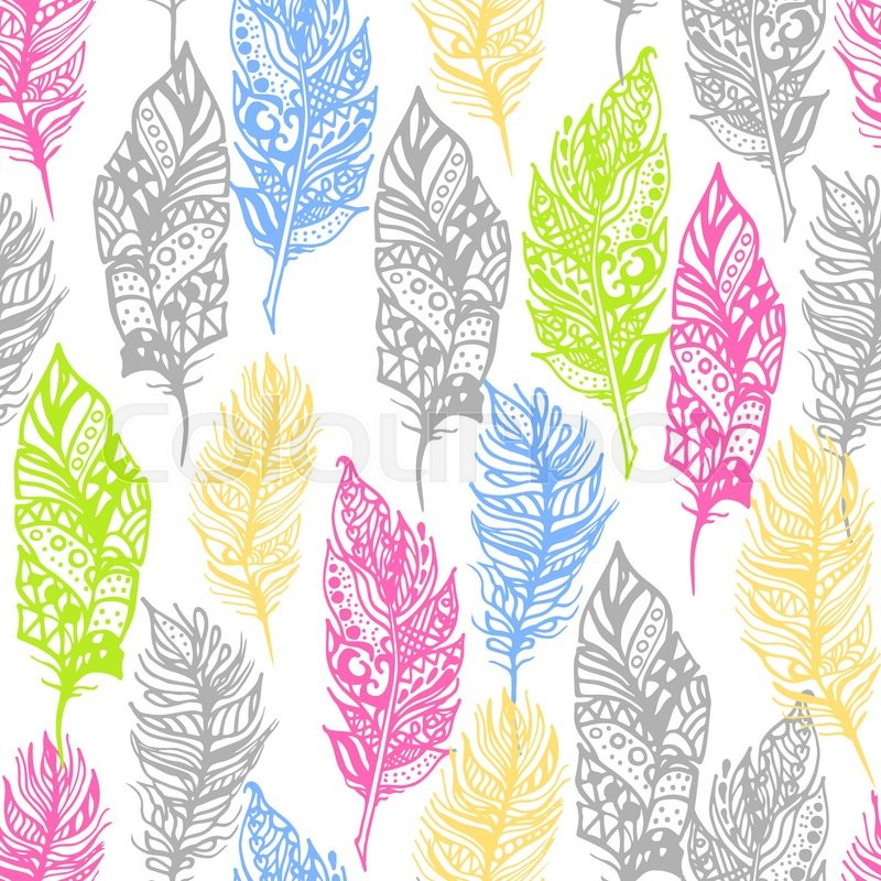 Hand Drawn Vector Zentangle Doodle Neon Colors Feathers Seamless Pattern On White