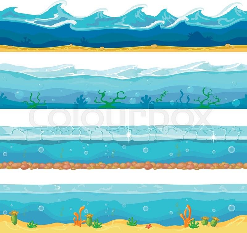 Water Waves Or Ocean Sea Seamless Stock Vector