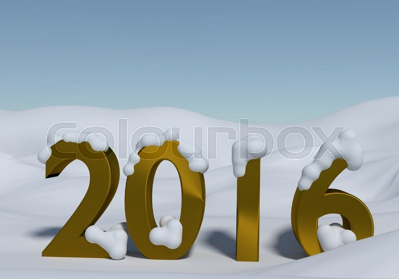 Golden number 2016 with snow, stock photo
