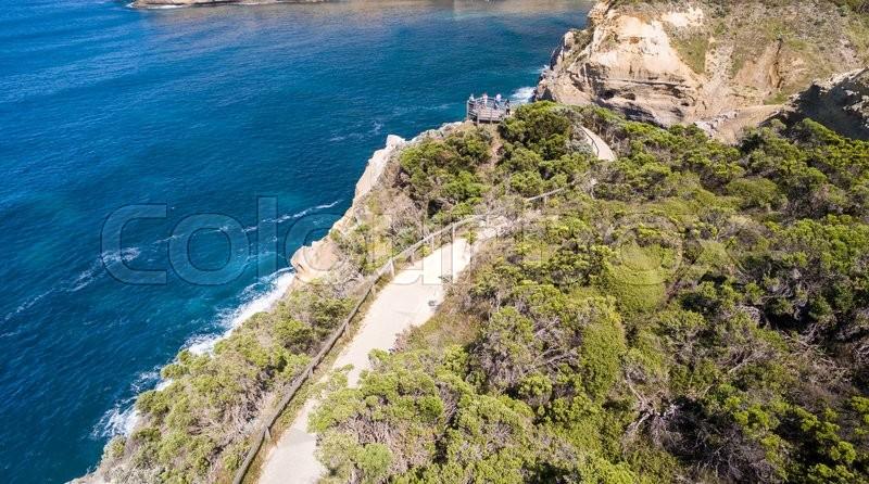 Coastline of Great Ocean Road, aerial view, stock photo