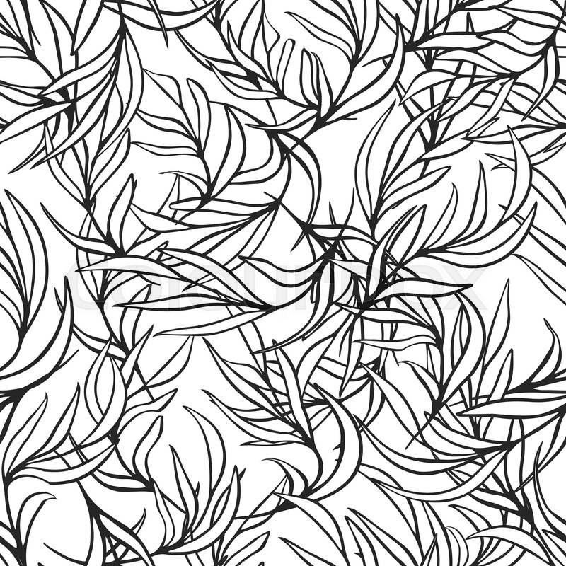 Natural Leaves Vector Seamless Pattern Hand Drawn Tree Branches Ink Doodle Botanical Print Black And White Monochrome Coloring Page Background