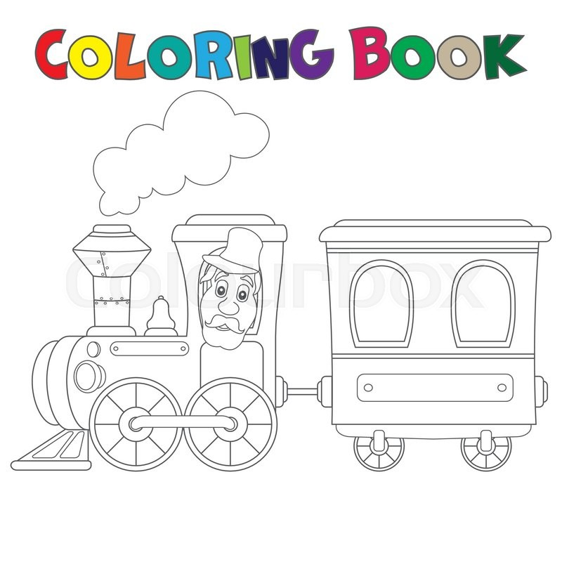 Coloring book train with carriages | Stock Vector | Colourbox