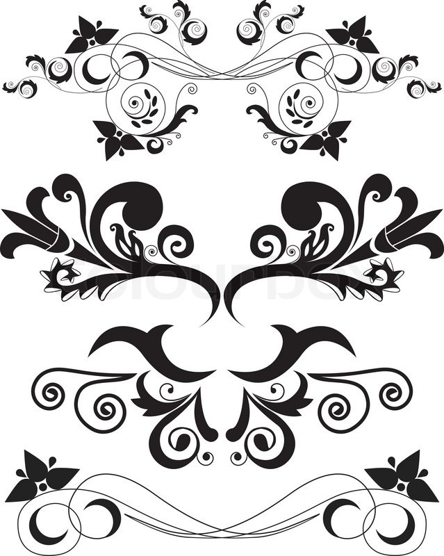 Set Of Swirling Flourishes Decorative Floral Elements Stock Vector