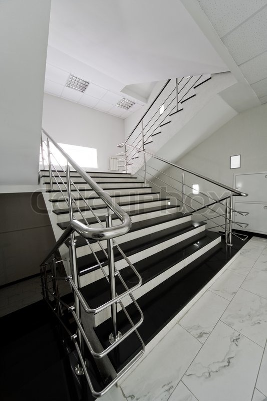 Marble Staircase With A Steel Handrail In A Modern Building | Stock Photo |  Colourbox