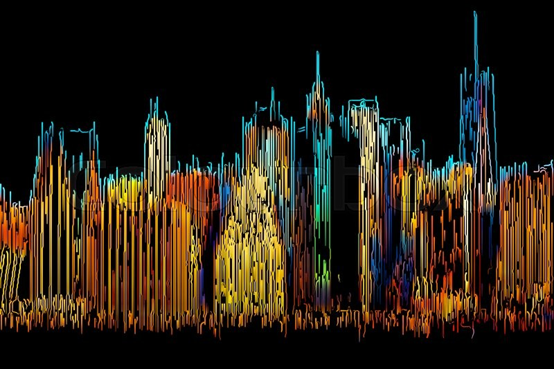 Abstract manhattan morning new york city skyline painted for Painting jobs nyc
