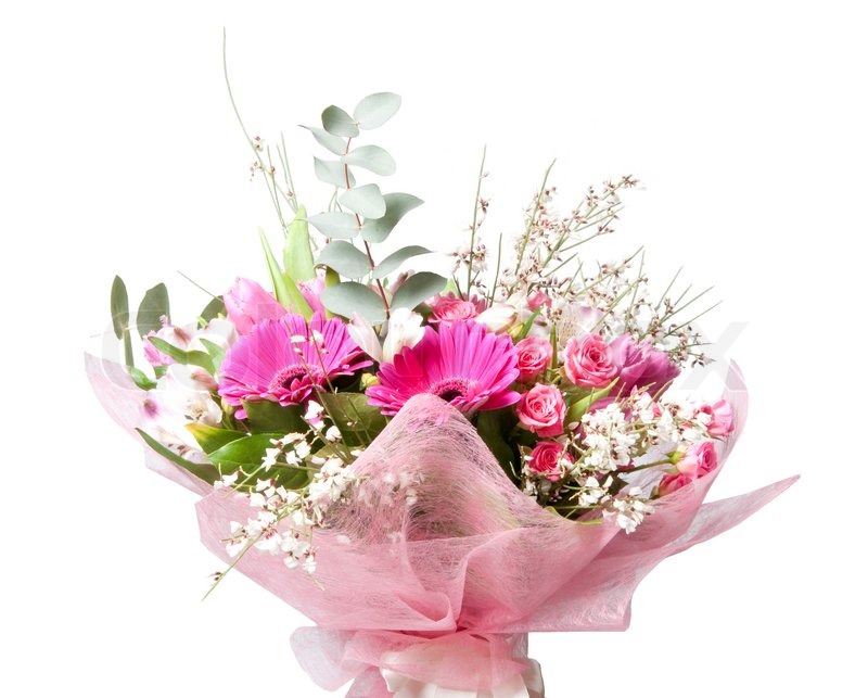 Beautiful Bouquet Of Flowers Isolted On White Stock