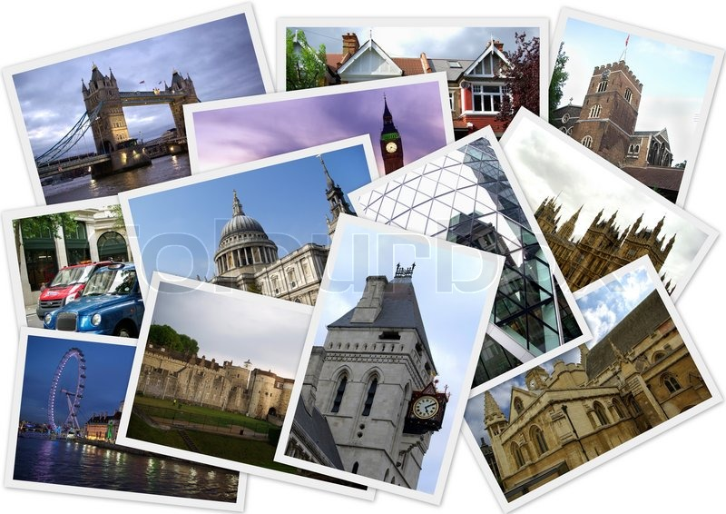 Famous Places Of London In Collage With Several Shots On White Background