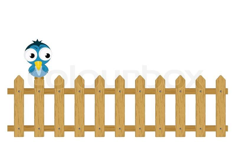 Vektor Vogel Auf Zaun Stock Vektor