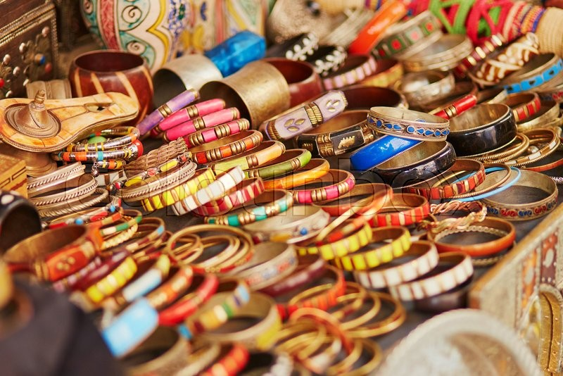 Selection Of Bijouterie On Moroccan Market Souk In