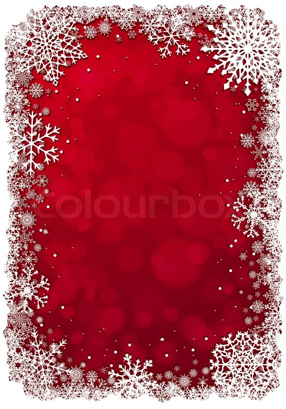red christmas background with white frame of snowflakes vertical