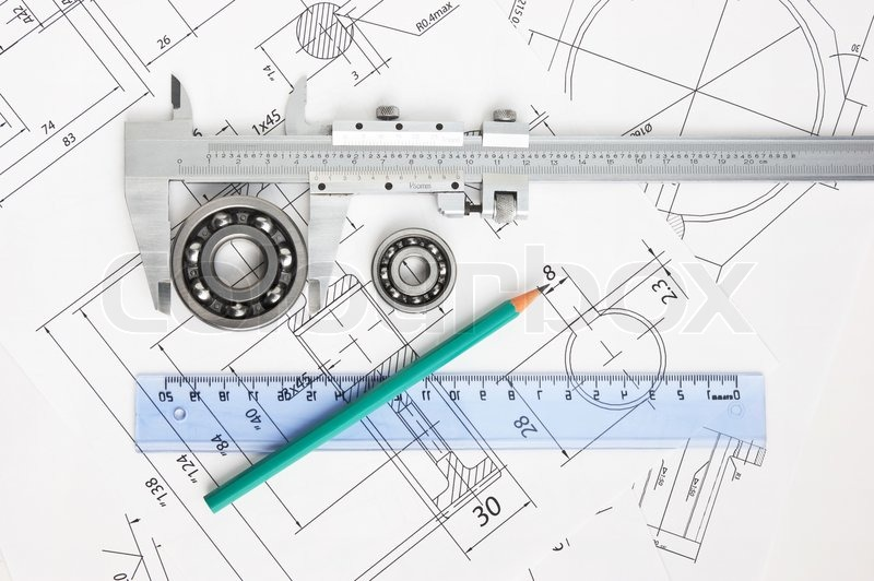 Technical drawing and caliper with bearing, stock photo