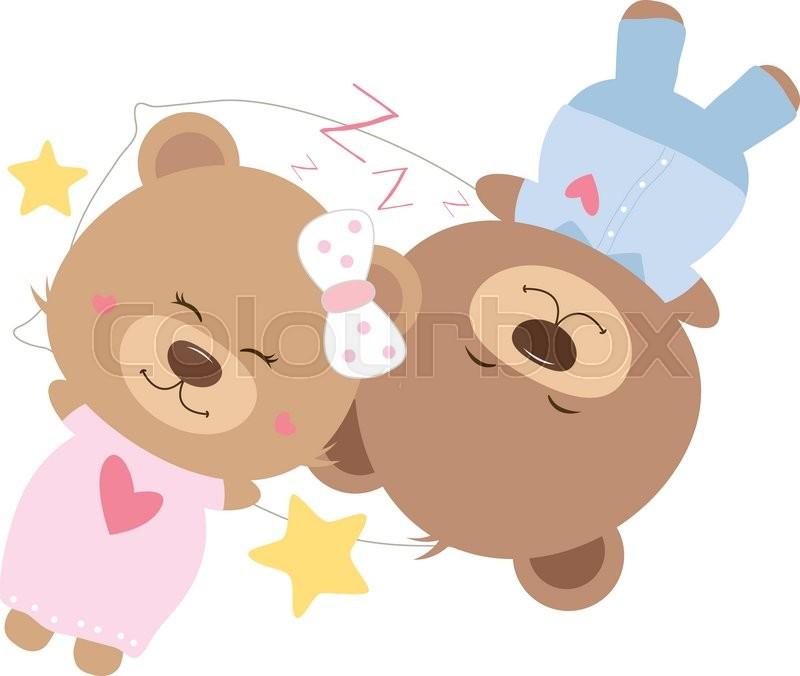 love concept of couple teddy bear sleeping on pillow stock vector
