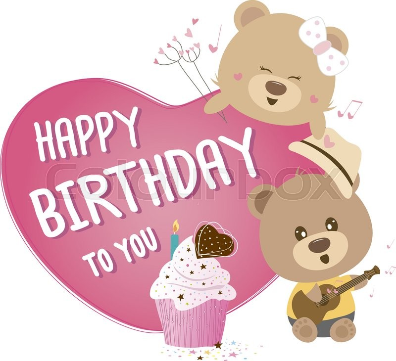 Heart with happy birthday to you and couple teddy bear | Stock ...