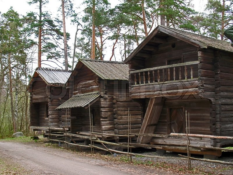 Street Of Old Wooden Houses In Finland Stock Photo