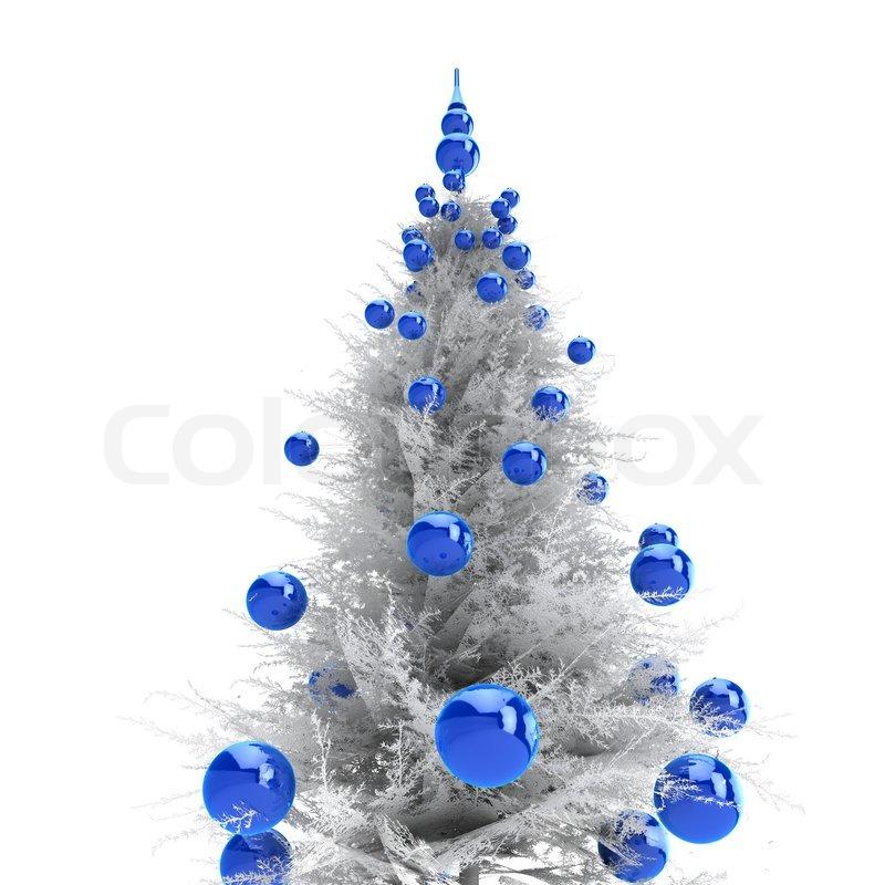 light grey christmas tree with blue balls stock photo colourbox - Blue Grey Christmas Decorations