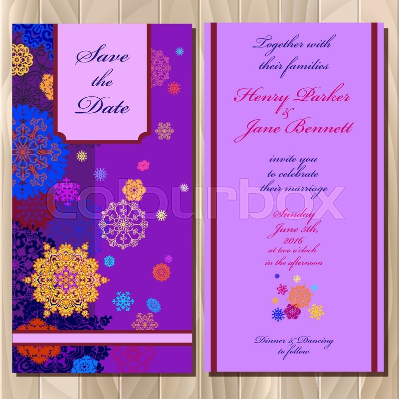 Wedding invitation card with red pink gold blue and white wedding invitation card with red pink gold blue and white snowflakes and stars and violet background printable abstract vertical design set vector stopboris Choice Image