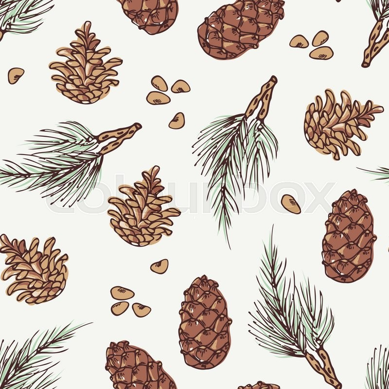 hand drawn wreath and pine cone winter seamless pattern