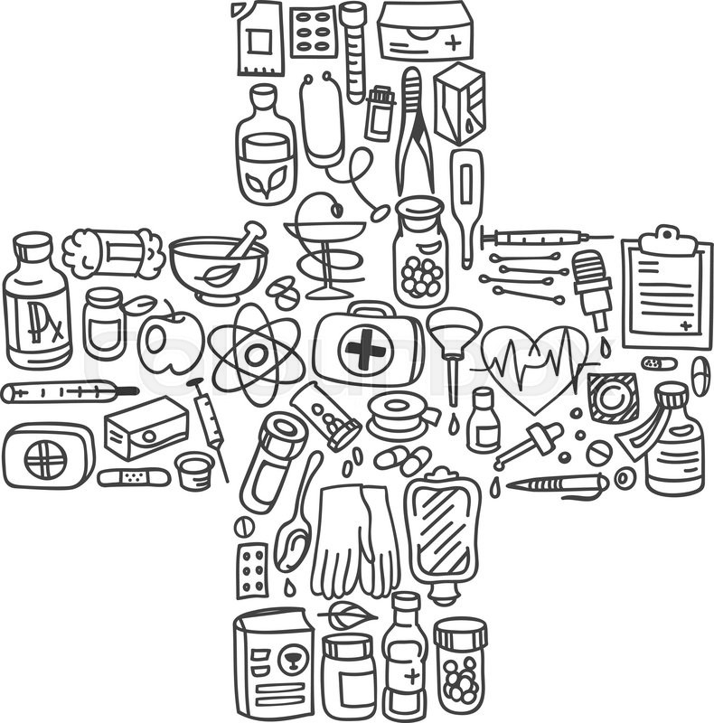 Cool Background For Health: Health Care Doodle Icons Background, ...