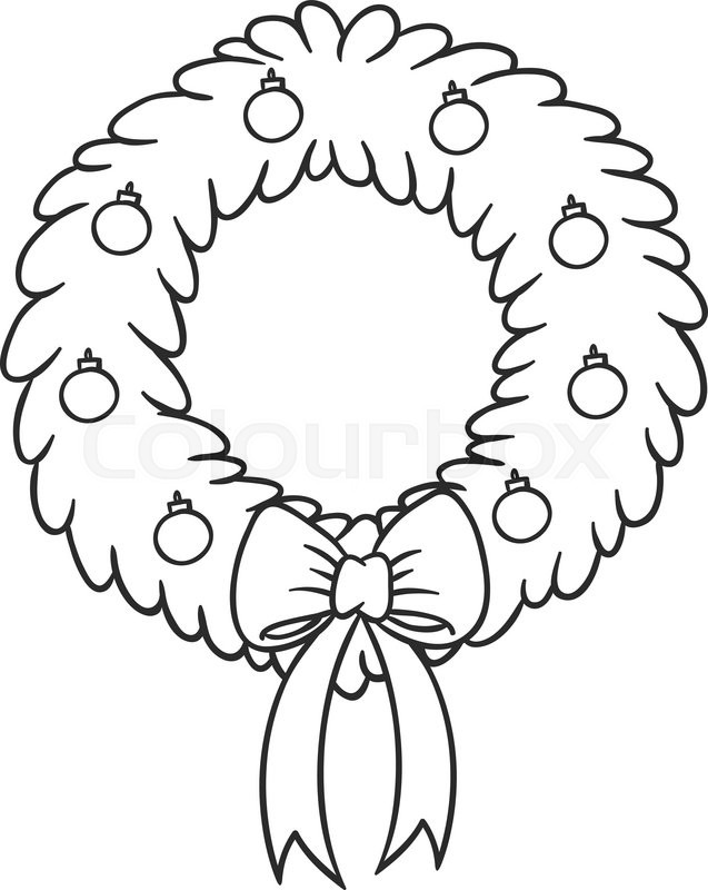 Christmas Wreath With Red Ribbon And Balls Theme Coloring Book