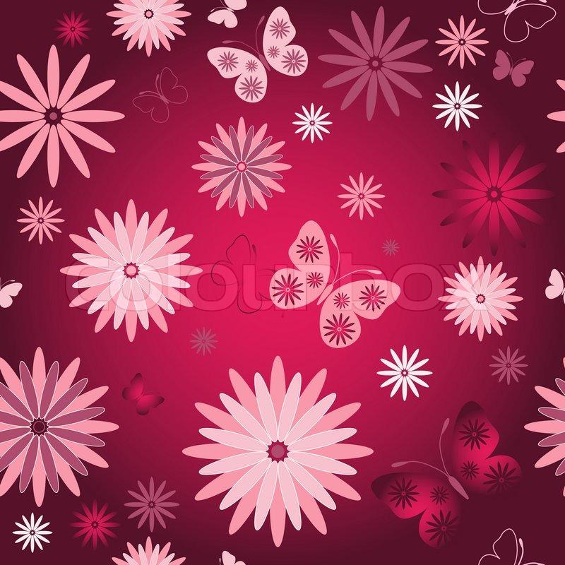 red nahtlose floralen tapeten mit rosa blumen und. Black Bedroom Furniture Sets. Home Design Ideas