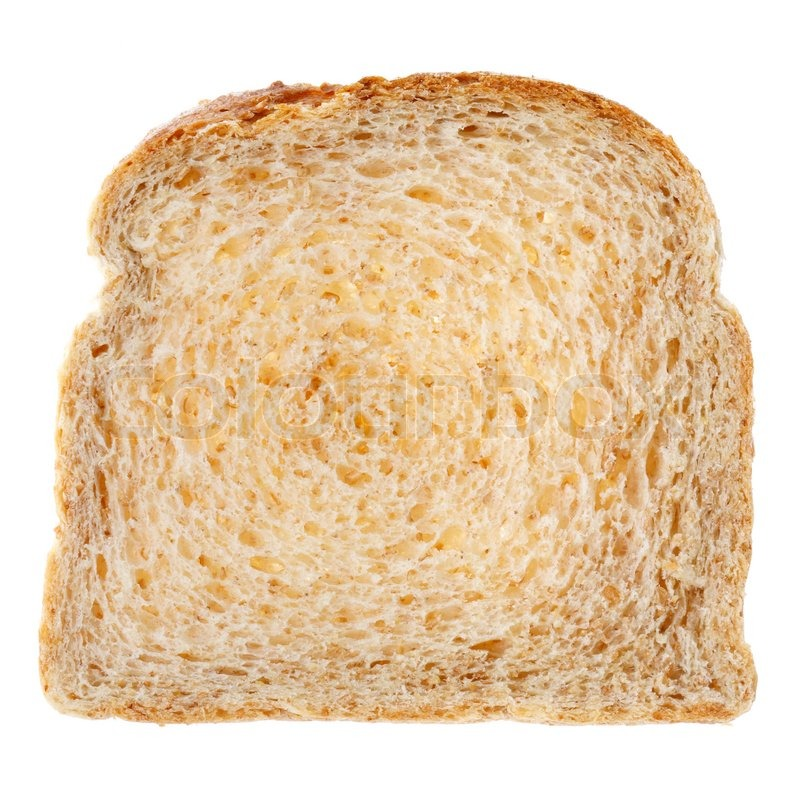 slice of full grain toast bread isolated on white stock photo