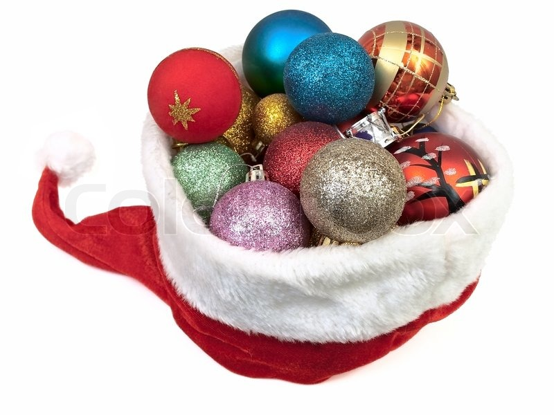 White Christmas Background Red Christmas Hat With New Year Yoys Over White Background Stock Photo