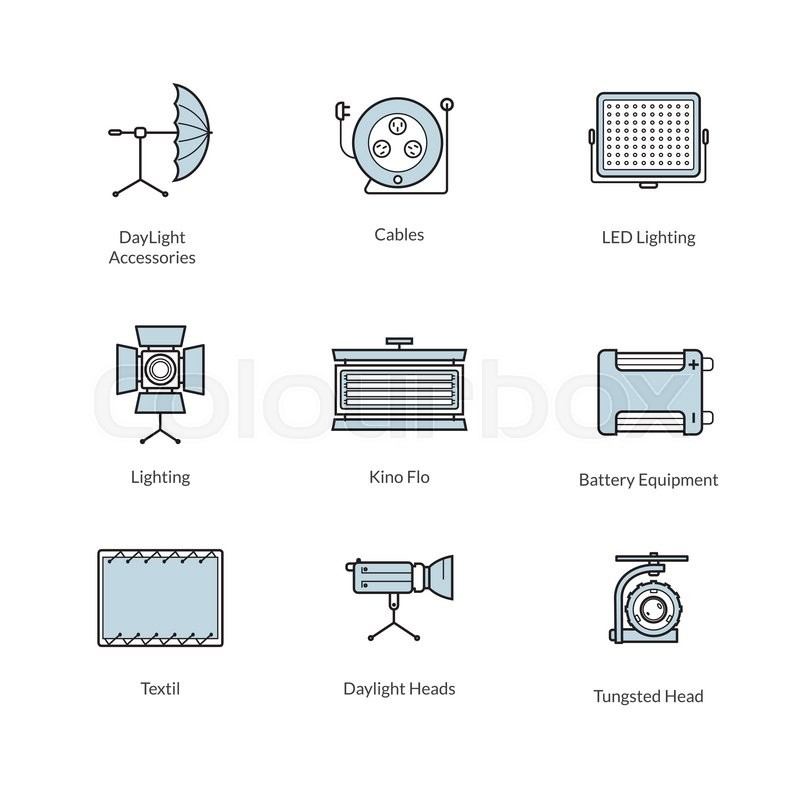 set of icons of studio lighting and accessories for professional rh colourbox com Light Bulb Icon Registers Icon Green