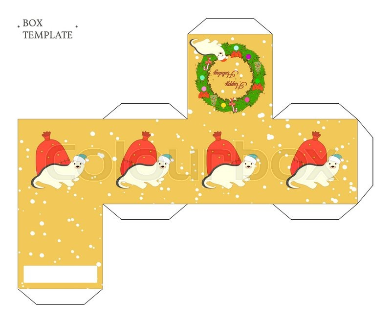vector packaging box template with christmas wreath and cute cartoon