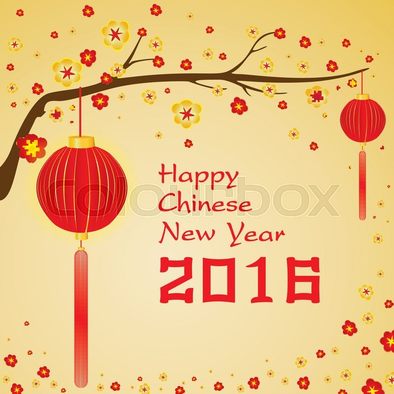 Happy Chinese New Year 2016 Card And Colorful Flower On Red Background Gold