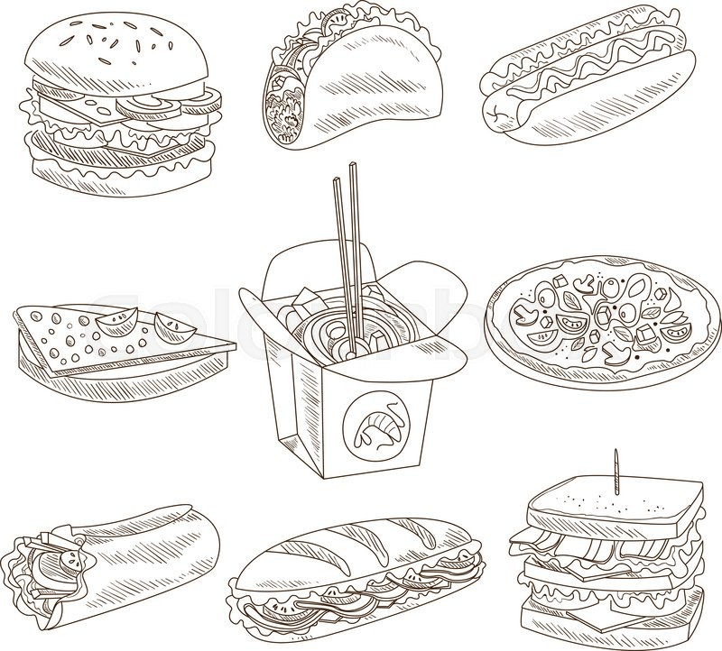 Fast Food Doodle Vector Illustration In Sketch Style. Hand Drawn Design Elements. | Stock Vector ...