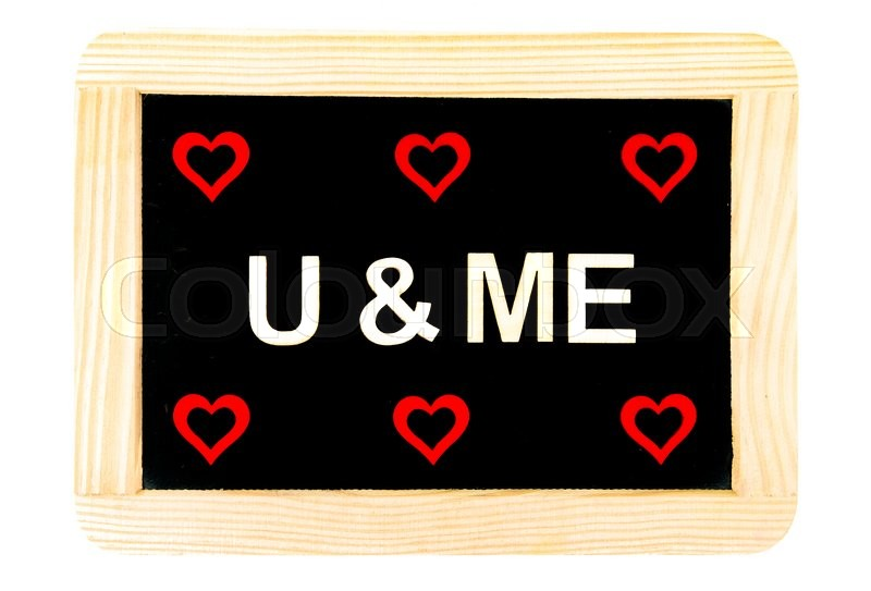 Wooden Frame Vintage Chalkboard Isolated On White With Six Red Heart