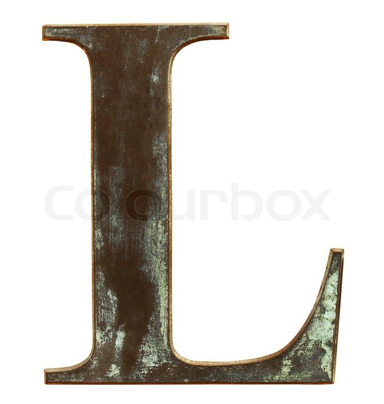 Slidt og beskidt metalliske bogstavet l isoleret p hvidt for Mobel 9 buchstaben