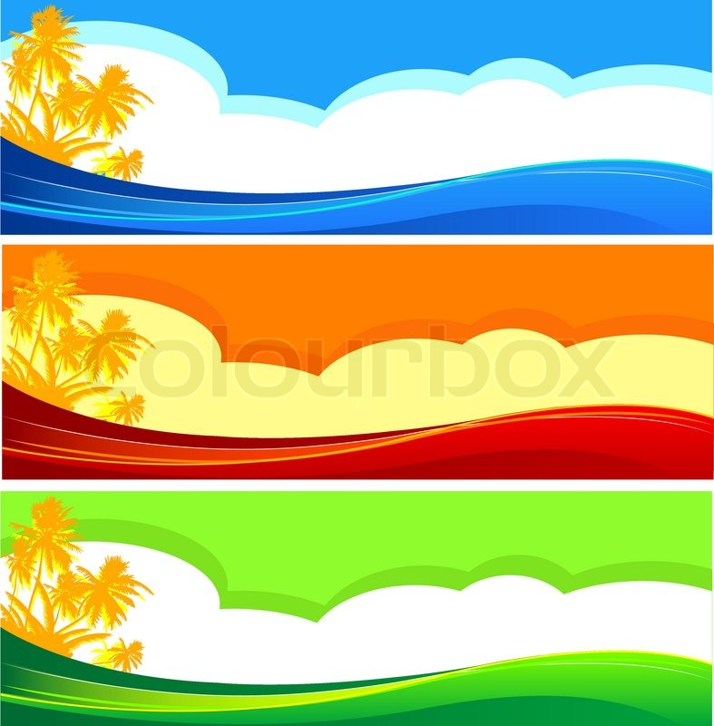 summer themed beach illustration banners with place for text stock