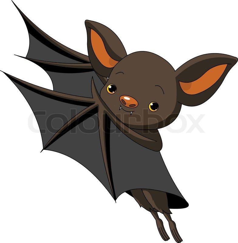 Cute Cartoon Halloween bat presenting with his wings ...