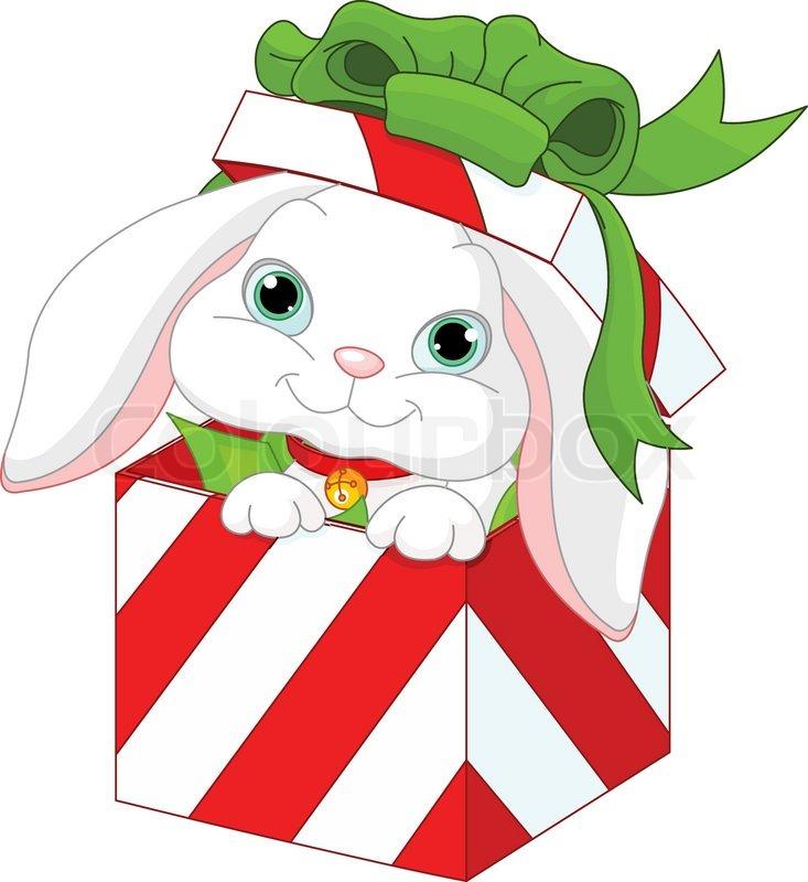 cute hase in einem weihnachts geschenk box vektorgrafik. Black Bedroom Furniture Sets. Home Design Ideas