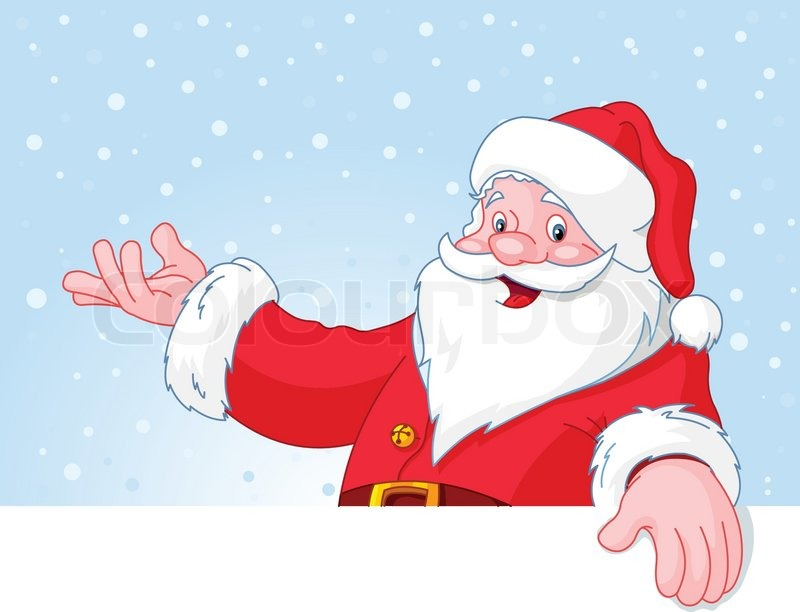 Christmas Santa Claus over blank greeting (place) card with lift ...