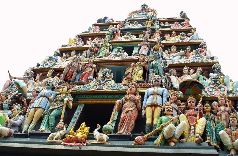Gopuram sculptures of Sri Mariamman Temple. The oldest Hindu temple in Singapore, stock photo