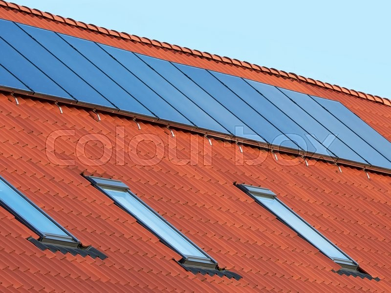 Stock foto af 'Flat plate solar thermal collectors'