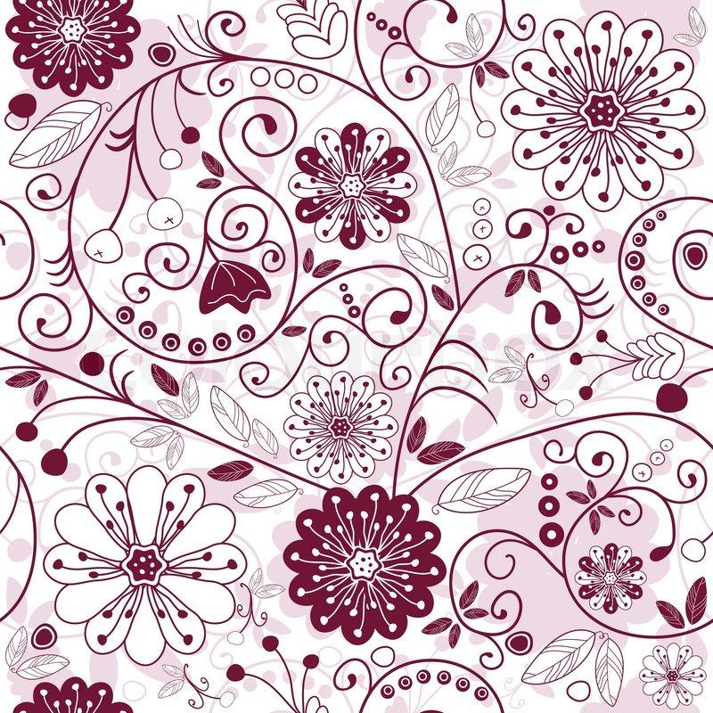 Weiß und lila nahtlose floralen Muster mit Blumen (Vektor ...