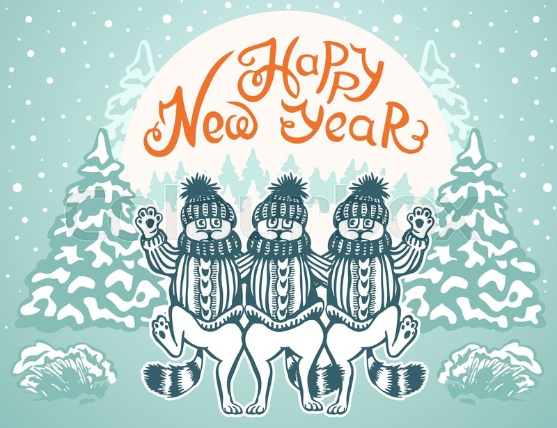 new year card three cat dance dressed in caps and sweaters caricature vector