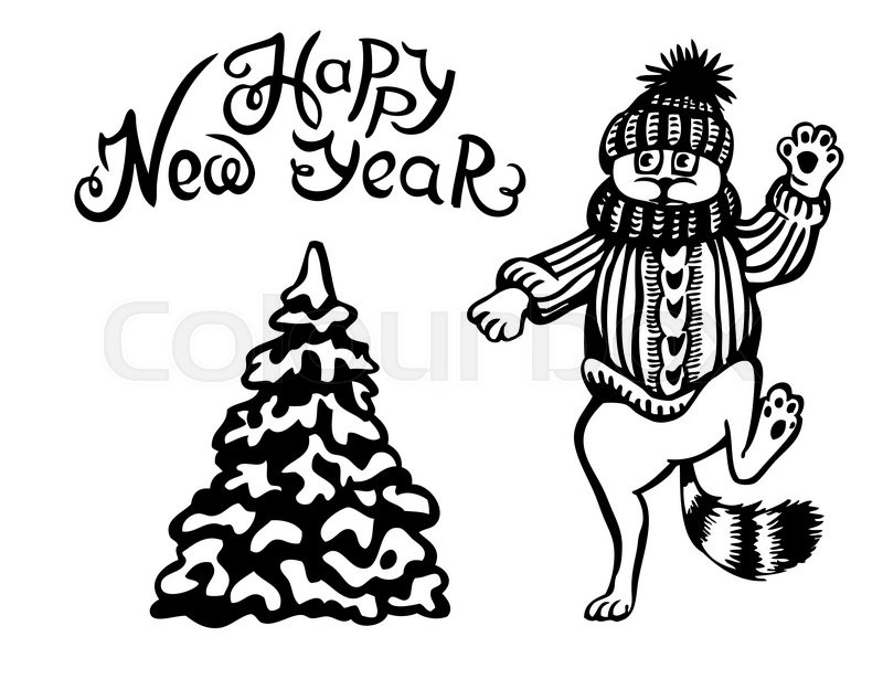 new year card the cat is dancing near a christmas tree caricature stock vector colourbox