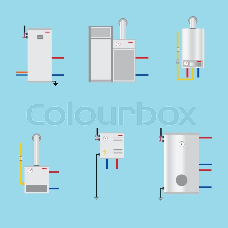 Different boilers icons set. Flat style. Electrical, gas, Pyrolysis ...