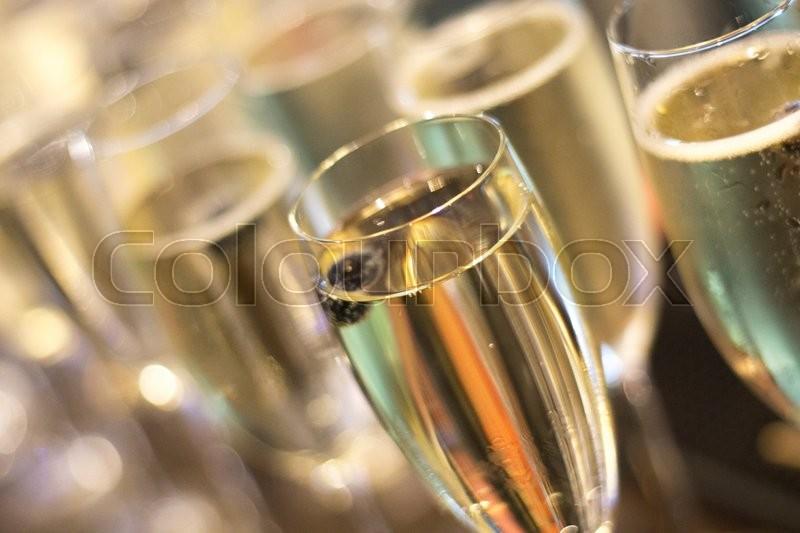 Champagne Sparkling White Wine Glasses Stock Photo Colourbox