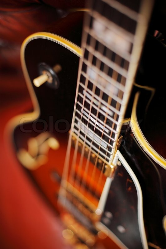Semi Acoustic Jazz Electric Guitar In Closeup Short Depth Of Field