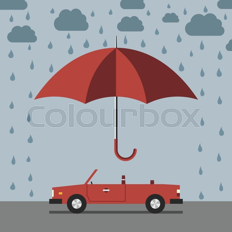 Red Umbrella Protecting Car Against Stock Vector Colourbox